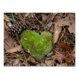Nature's Valentine Moss Heart Poster