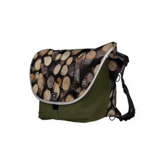 Natures wooden logs pattern messenger bag