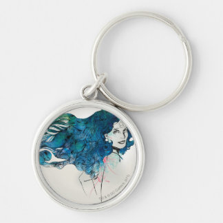 Naturess Design 5 Silver-Colored Round Keychain