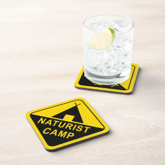 Naturist Camping Sign Beverage Coaster