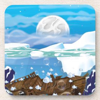 Naufragio ártico subacuático posavasos