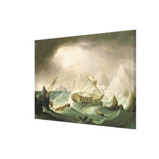Naufragio de una costa rocosa (aceite en lona) lona envuelta para galerías