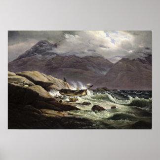 Naufragio en la costa noruega, 1831 póster