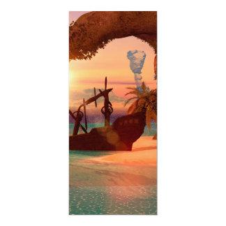 """Naufragio en la puesta del sol invitación 4"""" x 9.25"""""""