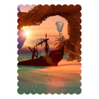 """Naufragio en la puesta del sol invitación 5"""" x 7"""""""