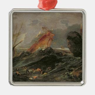 Naufragio en una orilla rocosa, c.1645-50 adorno navideño cuadrado de metal