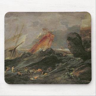 Naufragio en una orilla rocosa, c.1645-50 alfombrillas de raton