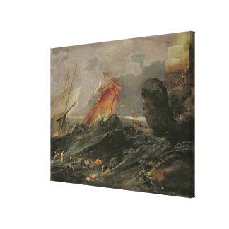 Naufragio en una orilla rocosa, c.1645-50 impresión en lona estirada