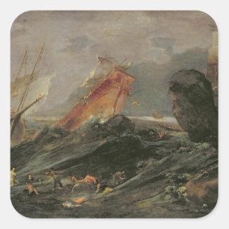 Naufragio en una orilla rocosa, c.1645-50 pegatina cuadrada