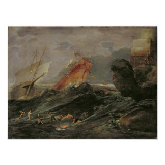 Naufragio en una orilla rocosa, c.1645-50 póster