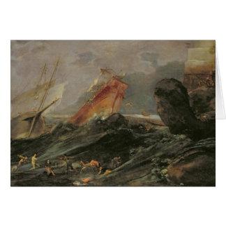 Naufragio en una orilla rocosa, c.1645-50 tarjeta de felicitación