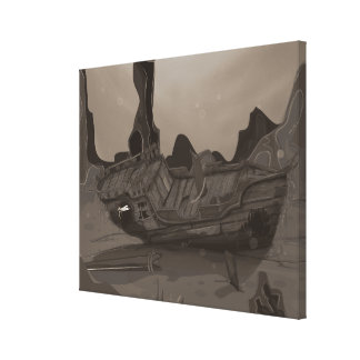 Naufragio subacuático impresión en lona estirada