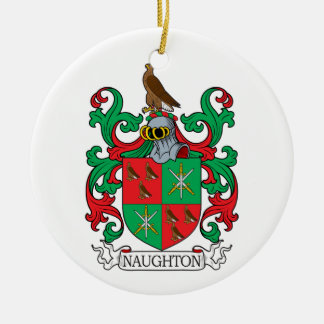 Naughton Family Crest Double-Sided Ceramic Round Christmas Ornament