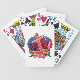 Naughty Anchor Roses and Wings Bicycle Playing Cards