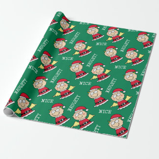 Naughty and Nice Christmas Elves Wrapping Paper