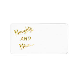 Naughty and Nice Gold Faux Foil Metallic Quote Label