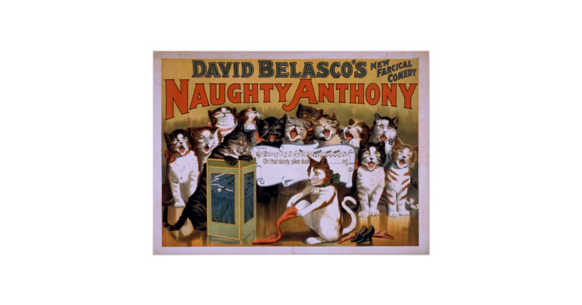 Naughty anthony farcical comedy vaudeville poster zazzle for Farcical black comedy