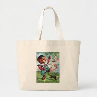 Naughty Bear Nat - Letter N - Vintage Teddy Bear Canvas Bag