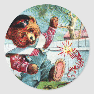 Naughty Bear Nat - Letter N - Vintage Teddy Bear Classic Round Sticker