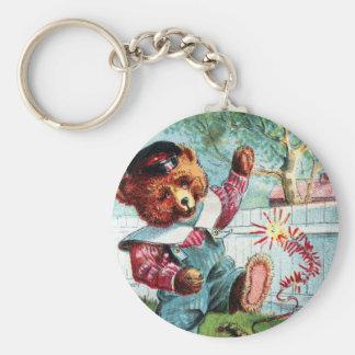 Naughty Bear Nat - Letter N - Vintage Teddy Bear Keychain