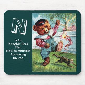 Naughty Bear Nat - Letter N - Vintage Teddy Bear Mousepads