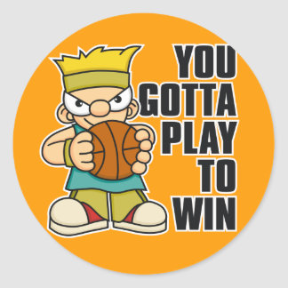 Naughty Boy Basket Ball Round Stickers