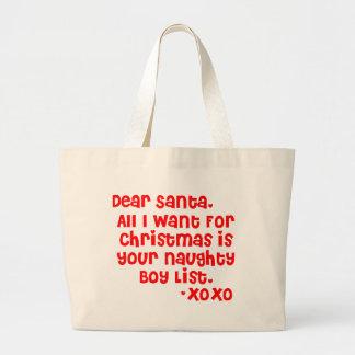 Naughty boy list tote bags