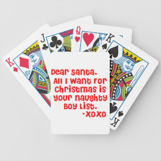 Naughty boy list bicycle playing cards