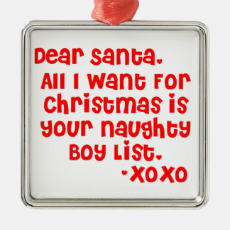 Naughty boy list metal ornament