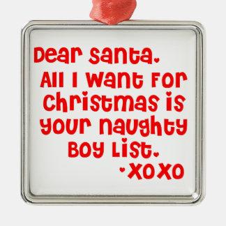 Naughty boy list square metal christmas ornament
