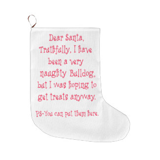 Naughty Bulldog Large Christmas Stocking