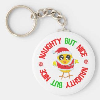 Naughty But Nice Christmas Chick Keychains