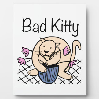 Naughty Cat Cartoon Plaque