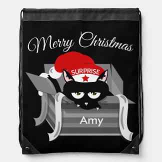 Naughty Cat Merry Christmas Drawstring Bag