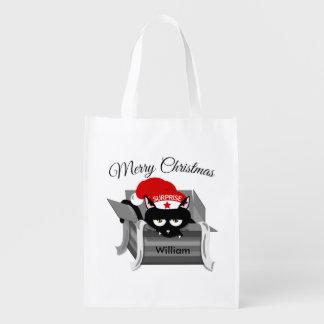 Naughty Cat Merry Christmas Reusable Grocery Bag