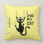 Naughty cat scratching the wall throw pillow