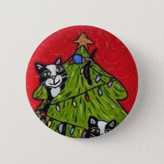 Naughty Cats Climbing in Christmas Tree Button
