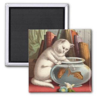 Naughty Cats - Fishing Cat Fridge Magnet