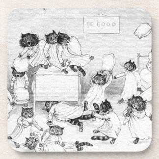 Naughty Cats in the Dormitory Beverage Coasters