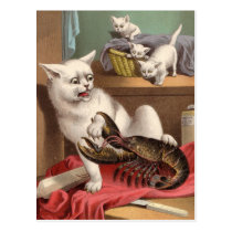 Naughty cats & lobster postcard
