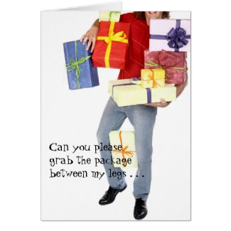Naughty Christmas Card - Grab His Package