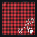 """Naughty Christmas Dog Rustic Red Flannel Bandana<br><div class=""""desc"""">This bandana features rustic red flannel and a handwritten script font with the """"naughty"""" half of naughty and nice. It makes the perfect Christmas bandana for your dog or cat.</div>"""