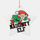 Naughty Christmas Elf Double-Sided Star Ceramic Christmas Ornament