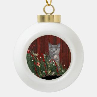 Naughty Christmas kitty Ceramic Ball Christmas Ornament
