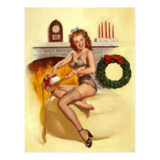 Naughty Christmas Pin Up Girl Postcard