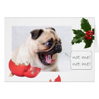 Naughty Christmas pug Greeting Card