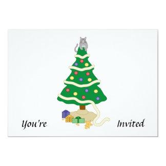Naughty Christmas Tree Kitty Cat Invite