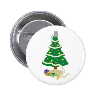 Naughty Christmas Tree Kitty Cat Pinback Button