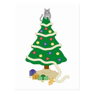 Naughty Christmas Tree Kitty Cat Postcard