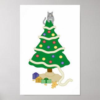 Naughty Christmas Tree Kitty Cat Poster